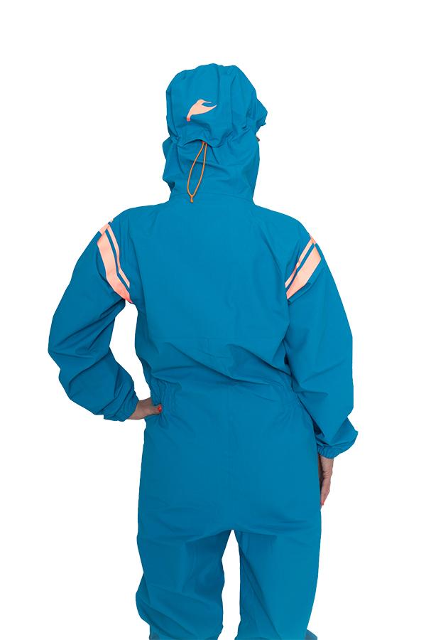 neverain Regen-Overall blau von hinten